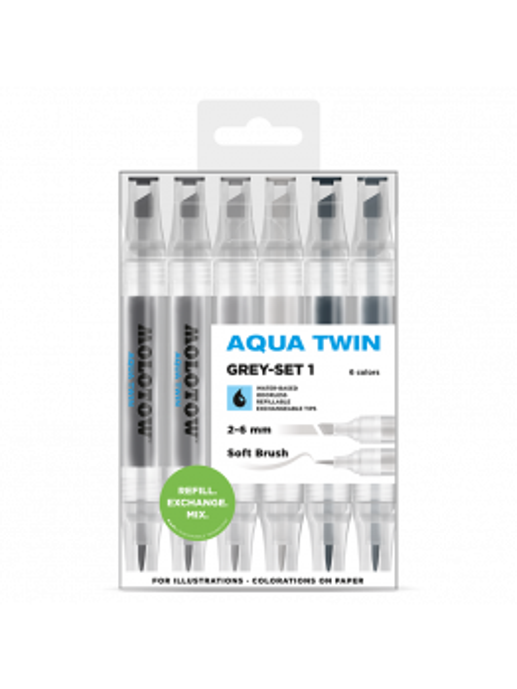 Molotow Aqua Twin Grey set 1 - (6 markers)