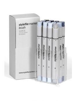 Stylefile 12 Brush Marker Set (Cool Grey)