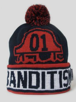 BANDIT-1$M Beanie Pom (Dark Navy/Red)