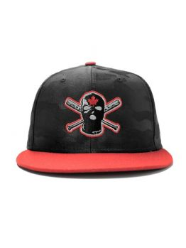 Ephin Snapback (Bloodstone) - Dark Grey Camo/ Red