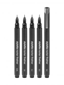 Stylefile Fineliner Marker set (Fine) - 5 Pack