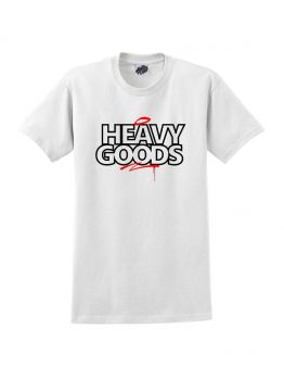 Heavy Goods T-shirt (Block Outline) - White