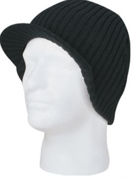Blanks - Knit Beanie with Visor (Black)