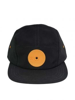 Mr.Serious Five Panel Hat (Orange Dot Fat Cap) - Black/Orange
