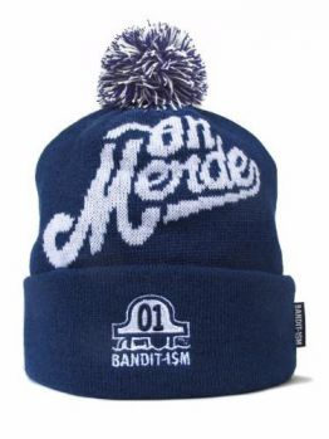 """BANDIT-1$M Beanie Pom """"Oh Merde"""" (Harbor Blue)"""