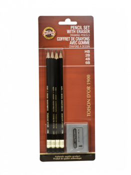 Koh-i-noor Toison D'or Graphite Pencil set - 4 Pencils & Eraser