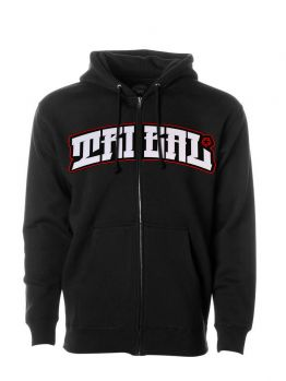 Tribal Zip Hoodie (Red Arched Patch) - Black