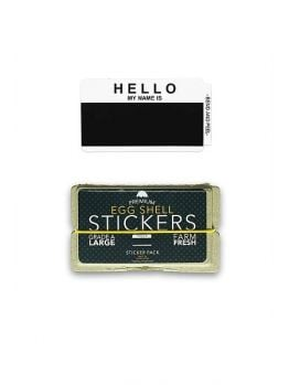 Egg Shell Sticker Pack (Hello My Name Is) - Black