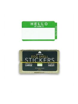 Egg Shell Sticker Pack (Hello My Name Is) - Green